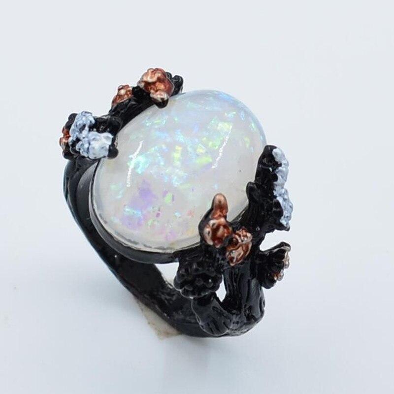2019 New Vintage Black Big Egg Shaped Opal Plum Blossom Flower Wedding Engagement Ring For Woman US Size 6-10