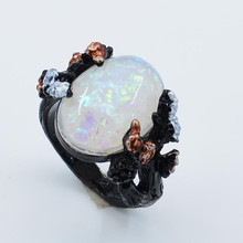 2019 New Vintage Black Big Egg Shaped Opal Plum Blossom Flower Wedding Engagement Ring For Woman US Size 6-10