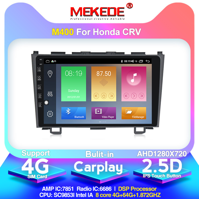 MEKEDE car Radio Android 10.0 <font><b>For</b></font> <font><b>Honda</b></font> <font><b>CRV</b></font> CR-V 3 RE 2006-2012 <font><b>GPS</b></font> Car Multimedia Player 8 Core RAM 4GB ROM 64GB DVR FM DSP image