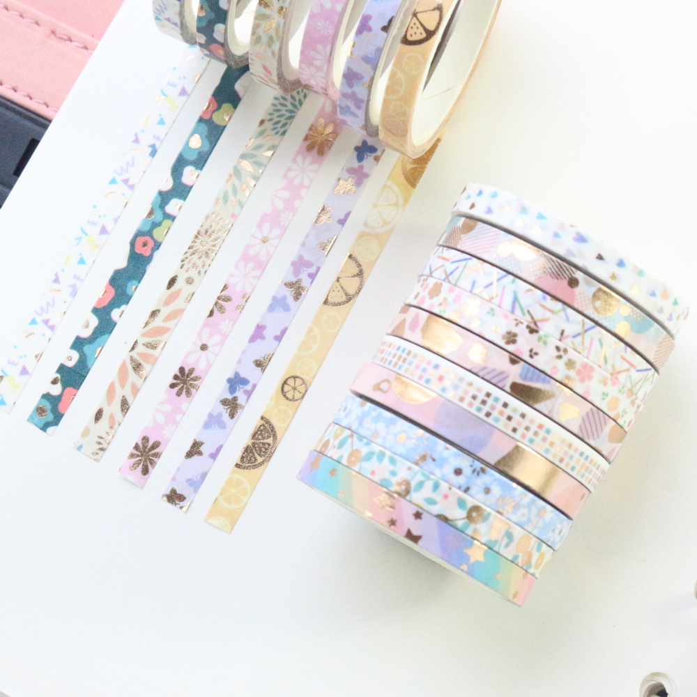 Domikee Cute Gold Foil Japanese Decorative DIY Washi Paper Masking Tapes Set For Bullet Journal Diary Notebooks Stationery 24pcs