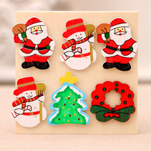 20PCS refrigerator window glass Christmas tree wooden decoration pendant elk desktop ornaments Santa snowman