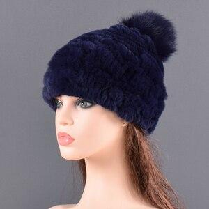 Image 4 - Winter Fur hat for women Real rabbit Fur Hats Elastic Warm Soft Fluffy Genuine Fox Fur Pompom Cap Luxurious Quality Natural fur