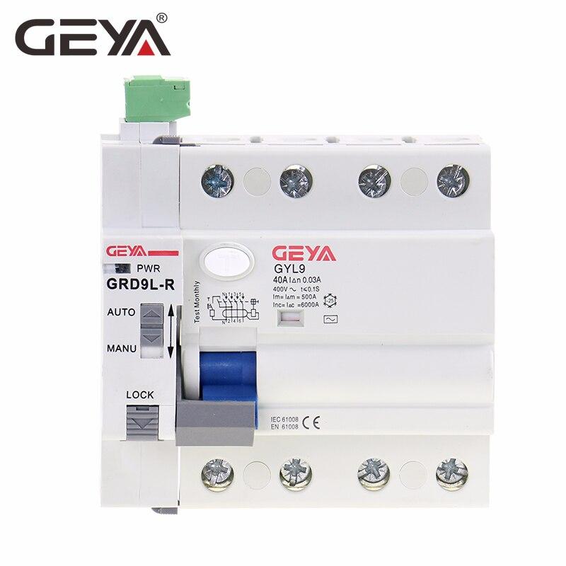 GEYA GRD9L 4 Pólo Disjuntores RCCB Religador Religamento Automático Controle Remoto Dispositivo Disjuntor 63A 30mA