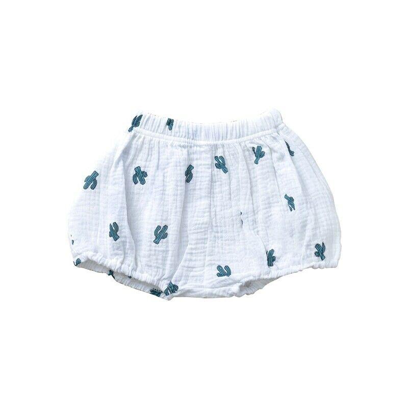Girls Cotton Linen Bloomer White Cactus Shorts