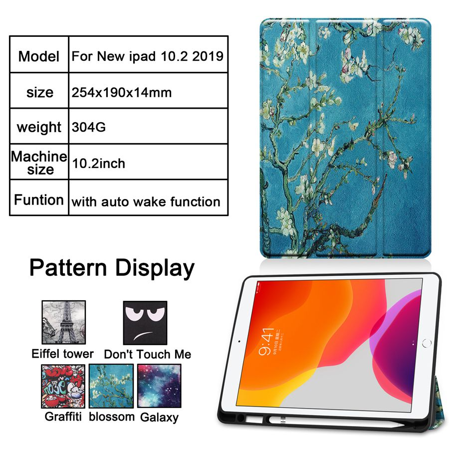 iPad Magnetic Apple Case 7th for Cover with A2200/A2198/A2232 Pencil-Holder