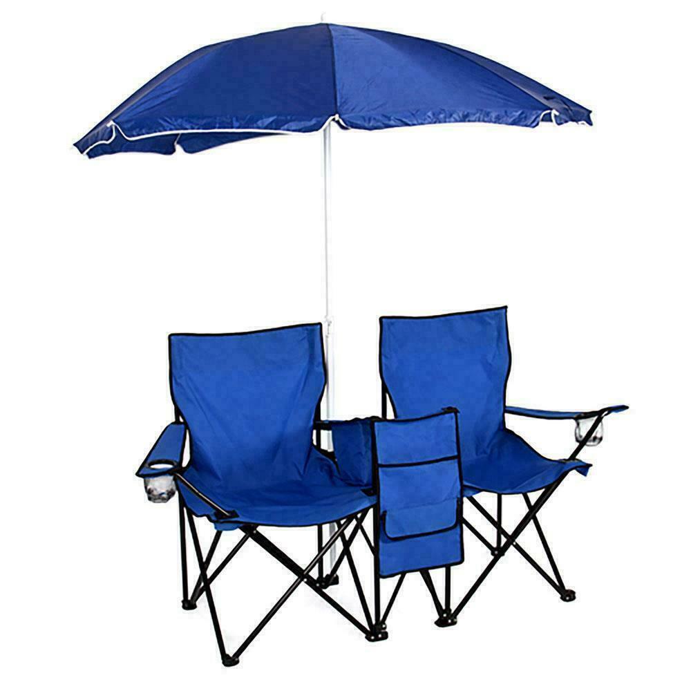 Składany piknik plaża Camping podwójne krzesło + parasol stół chłodnicy połowów składane