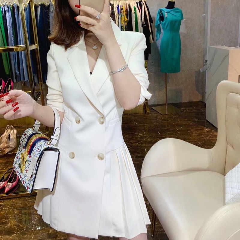 Bahar sonbahar kruvaze kadın Blazer elbise ofis bayanlar çentikli uzun kollu pilili rahat ince takım elbise kadın beyaz elbise