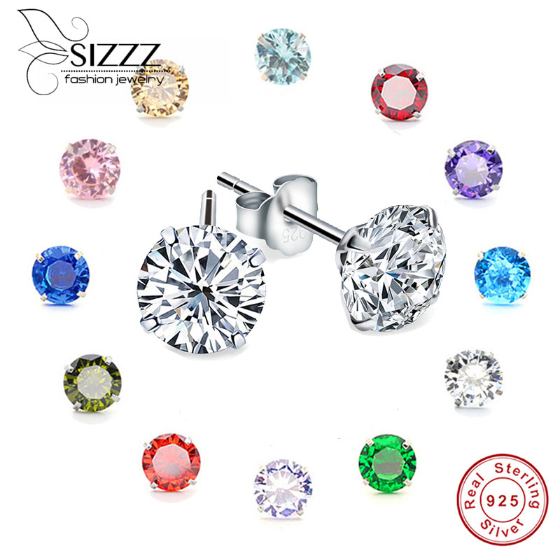 38 Girls Round Crystal Ear Studs 925 Sterling Silver Nb Of Crystal Stones