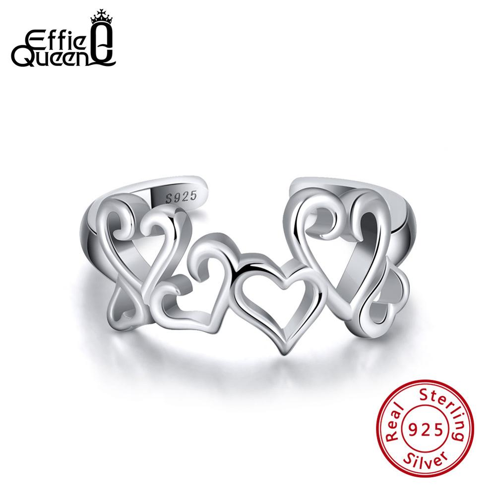 The Kiss Hearts Clear 925 Sterling Silver Adjustable Ring Pink CZ