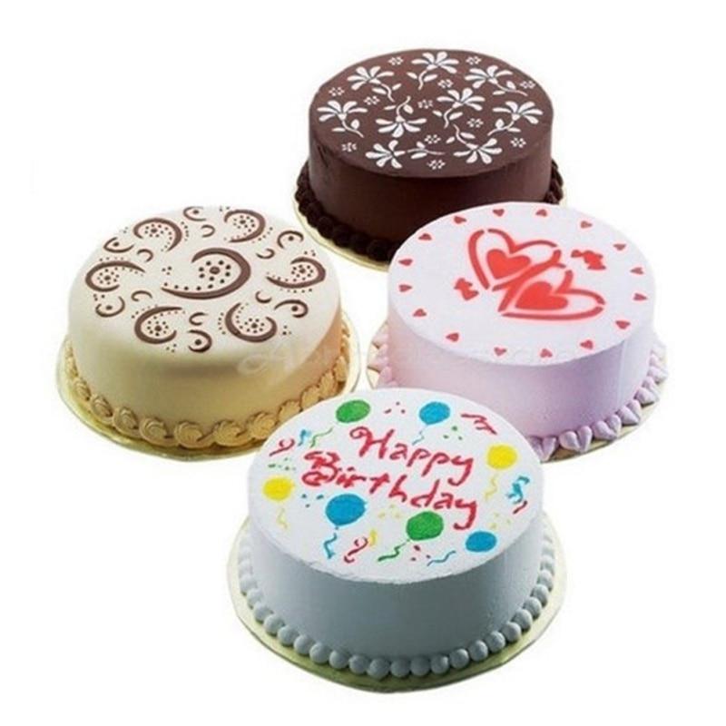 4PCS Cakes Flower Spray Templates Birthday Cake Decoration DIY Baking Mold Fondant Template