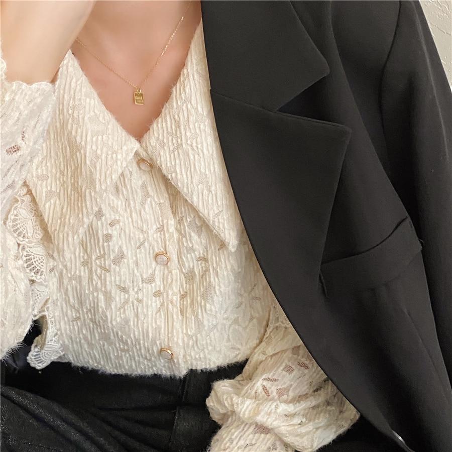 Hd16abf25fb884208b38d1702e69ed0518 - Spring / Autumn Chelsea Collar Long Sleeves Lace Blouse