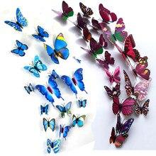 Autocollant mural papillon coloré 3D, décoration pour la maison, aimant pour réfrigérateur, décoration pour chambre d'enfant