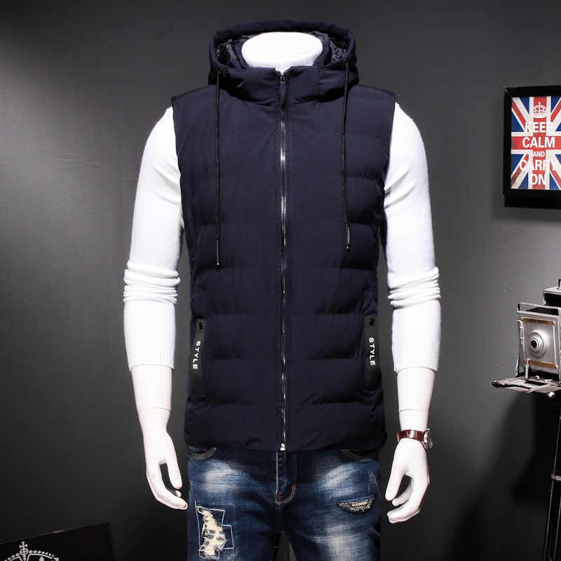 Zima Plus rozmiar 8XL 7XL męska ciepła kamizelka bez rękawów mężczyźni bawełniana kurtka z kapturem męska z zamkiem błyskawicznym kamizelka na jesień mężczyzna kamizelka homme