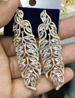 Accking Luxury TRICOLOR Mirco Paved Cubic Zirconia LEAVES SHAPE Women Bridal Dress Wedding Earring Fashion Jewelry party gift