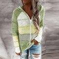 Женский трикотажный свитер с капюшоном, повседневный Полосатый пуловер с длинным рукавом и V-образным вырезом, кофта в стиле пэчворк на осен...