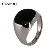 GENBOLI Fashion Non-Fade Metal Ring Silver Color Black Onyx Stone Engagement Wedding Ring(China)