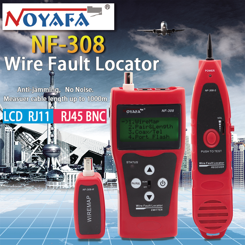 Noyafa NF-308 Network Monitoring Cable Tester LCD Wire Fault Locator LAN Network Coacial BNC USB RJ45 RJ11 Red Color