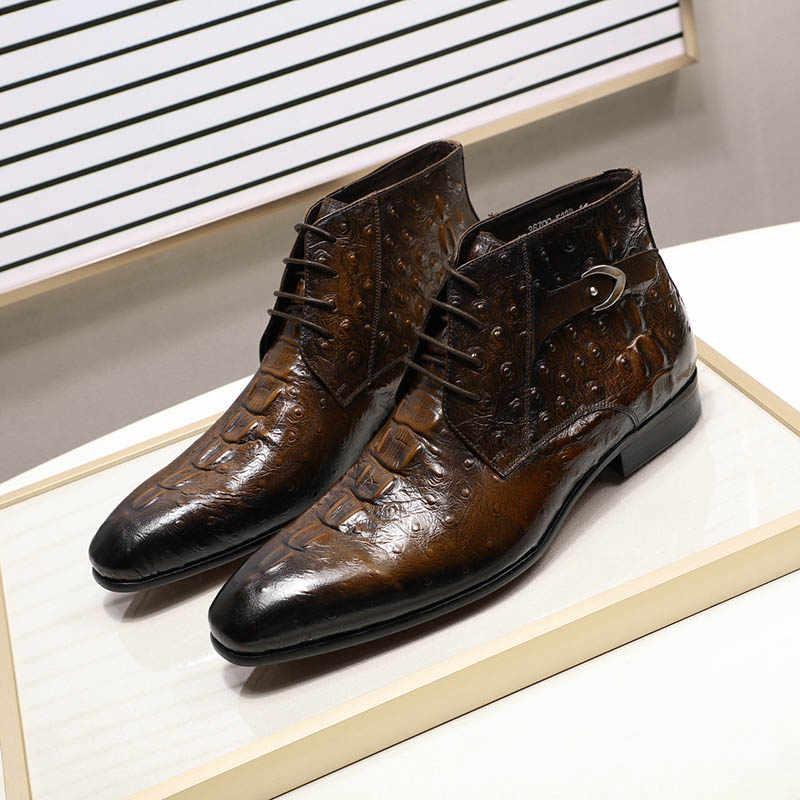 FELIX CHU Moda 2019 Tasarım Hakiki Deri Erkek yarım çizmeler Timsah Desen Lace Up Elbise Ayakkabı Siyah Kahverengi Erkek Temel Botları