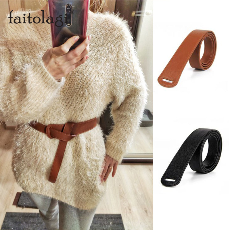 Luxury Long Belt For Women Pu Leather Ladies Belts For Dresses Design Black Brown Bownot Thin Female Coat Belts Strap Girdles