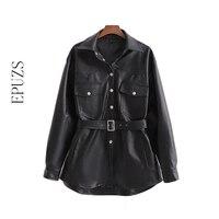 Winter black leather jacket women sashes PU biker jacket Motorcycle Faux leather Coat oversize Female fur jackets fall 2019