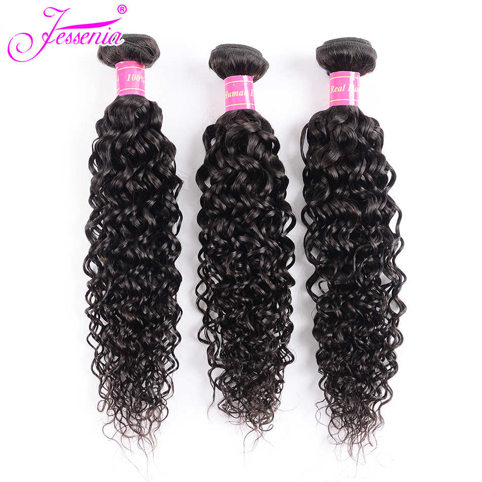 JESSENIA HAIR  Malaysian Water Wave Hair 3/4 Bundles non Remy Hair Weave Human Hair Bundles Double Weft Natural Black