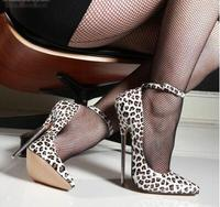 Sexy 13/16cm Heel Stiletto Heels Pumps Lady Pointed Toe Metal Thin Heel Leopard High Heels Dress Shoes Fashion Banquet Shoes