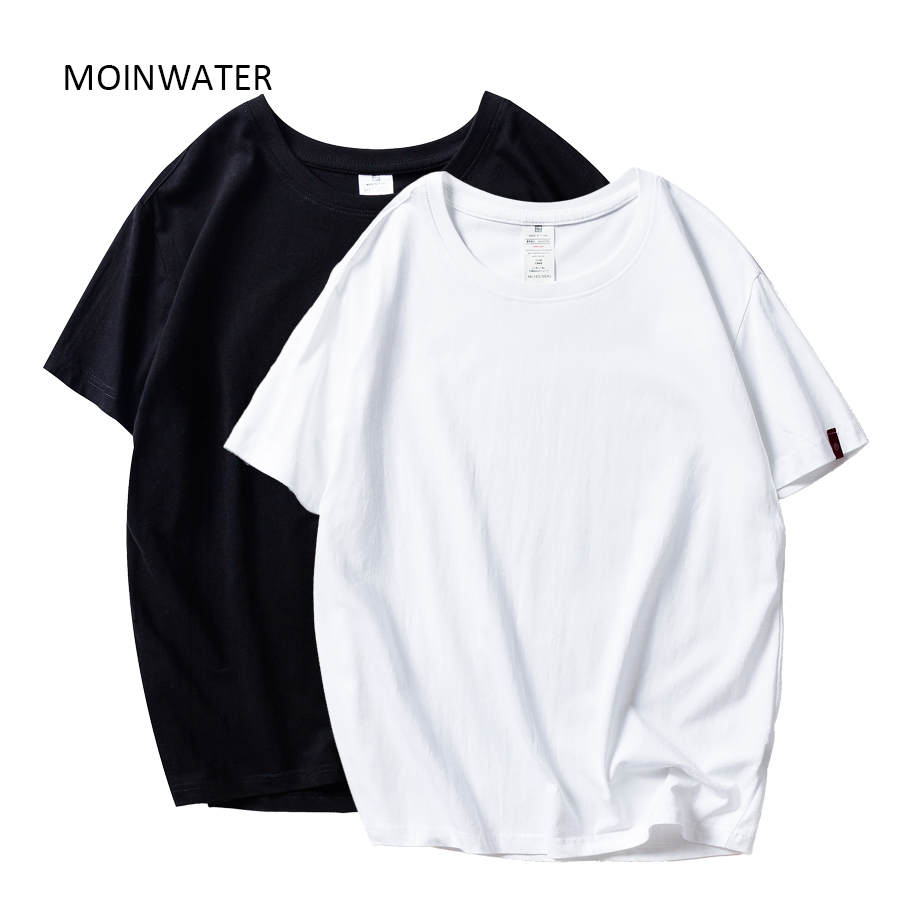 MOINWATER 2020 Neue Frauen T shirts 2 Teile/paket Feste Beiläufige 100% Baumwolle Komfortable T-shirts Lady Tees Kurzarm Tops