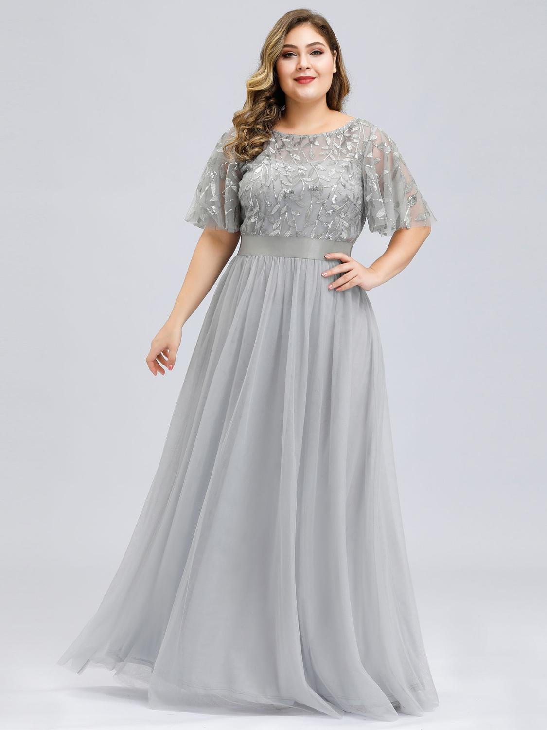 Evening-Dresses Sequined Tulle Ever Pretty Elegante Long Plus-Size Vestido O-Neck No