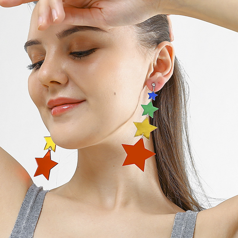 New Fashion Cute Romantic Star Acrylic Earrings Colorful Five-pointed Crystal Tassel Long Pendant Jewelry Women