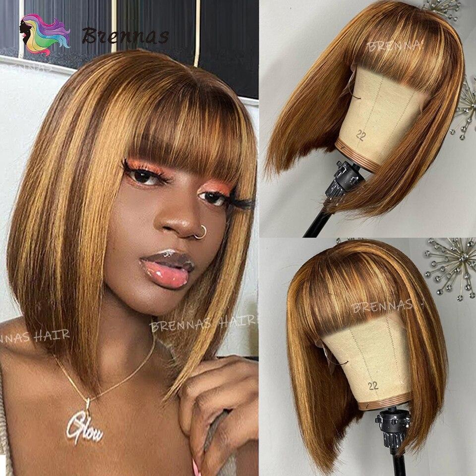 Прямой парик Боб Омбре медовый светлый парик из человеческих волос с челкой для женщин перуанские волосы Реми полностью парик машинной раб...