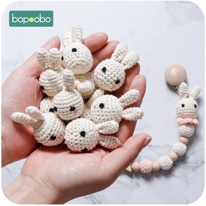 Bopoobo 10pc Food Grade Bunny Teether Crochet Beads For Dummy Pacifier Clip DIY Wood Jewelry Making For Teeth  Baby Product