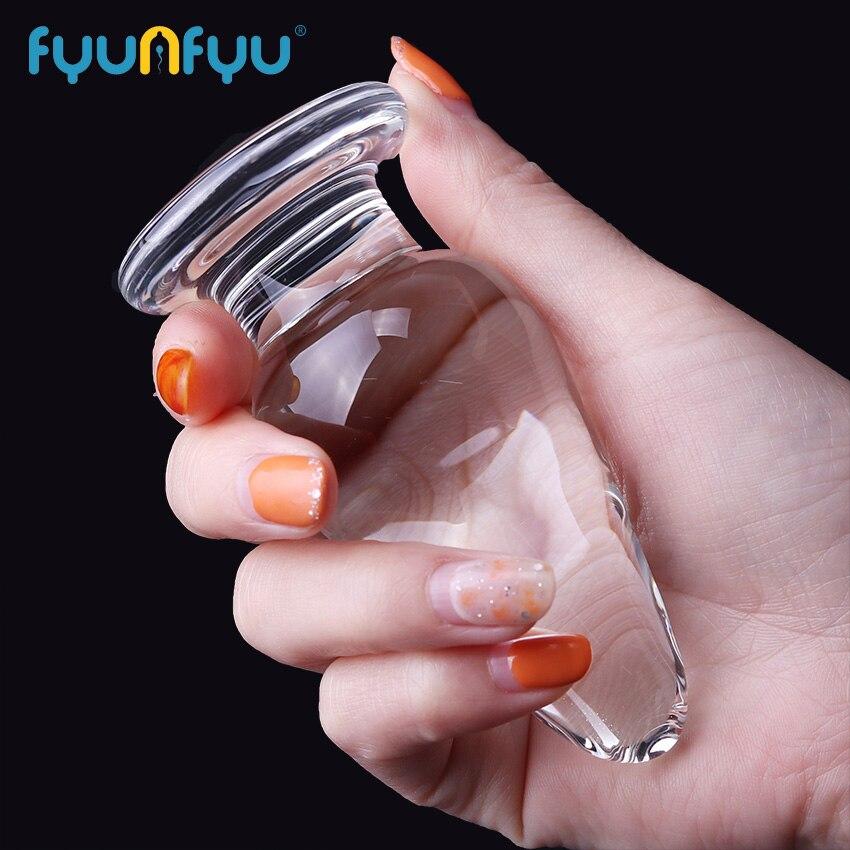 1 PC 40mm Crystal Size Glass Dildo Anus Masturbator Female Plug Butt Backyard Stopper Adult G-Spot Stimulation Anal Toy