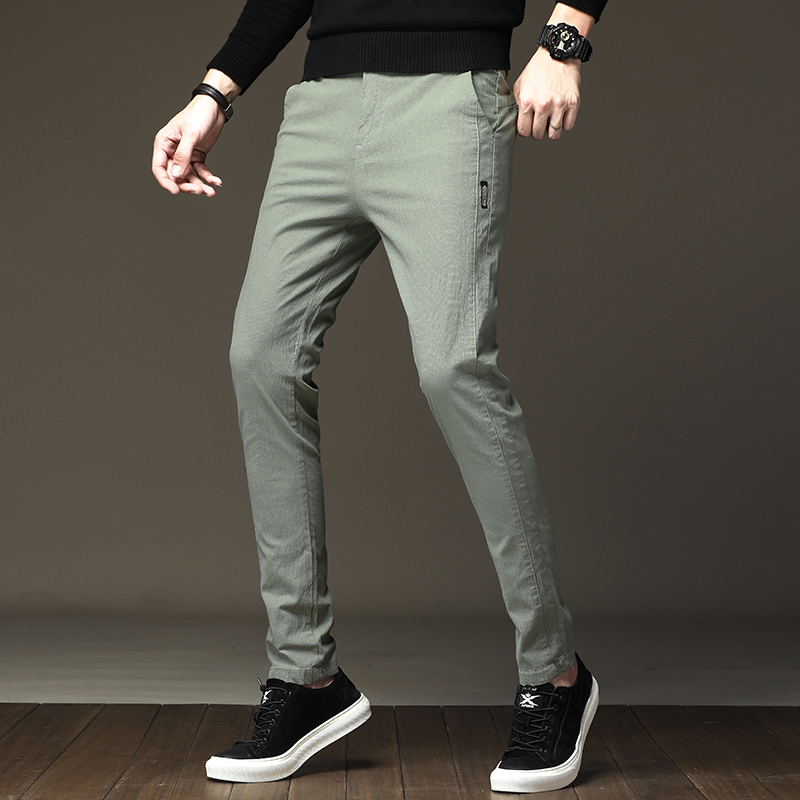 BINHIIRO Men's Pants Solid Color Cotton Micro-elastic Casual Pants Men Slim Fashion Streetwear Business Suit Pants Men Z8807