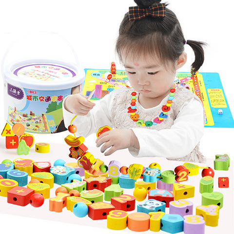 Children DIY Beads GIRL'S Male Baby Yi Toy Early Education 1-3 Years Old 6-Year-Old Beaded Bracelet Sub-Threading Building Block