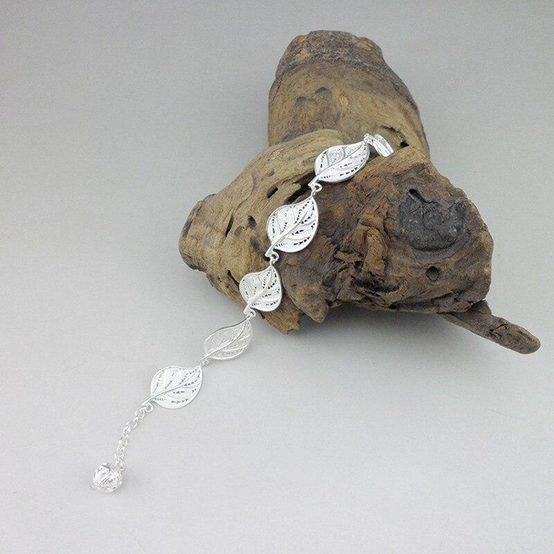 999 Bracelet en argent Sterling chaîne fait à la main Miao bijoux Boho charmes ethnique main chaîne lien chinois luxe femmes feuille bracelets