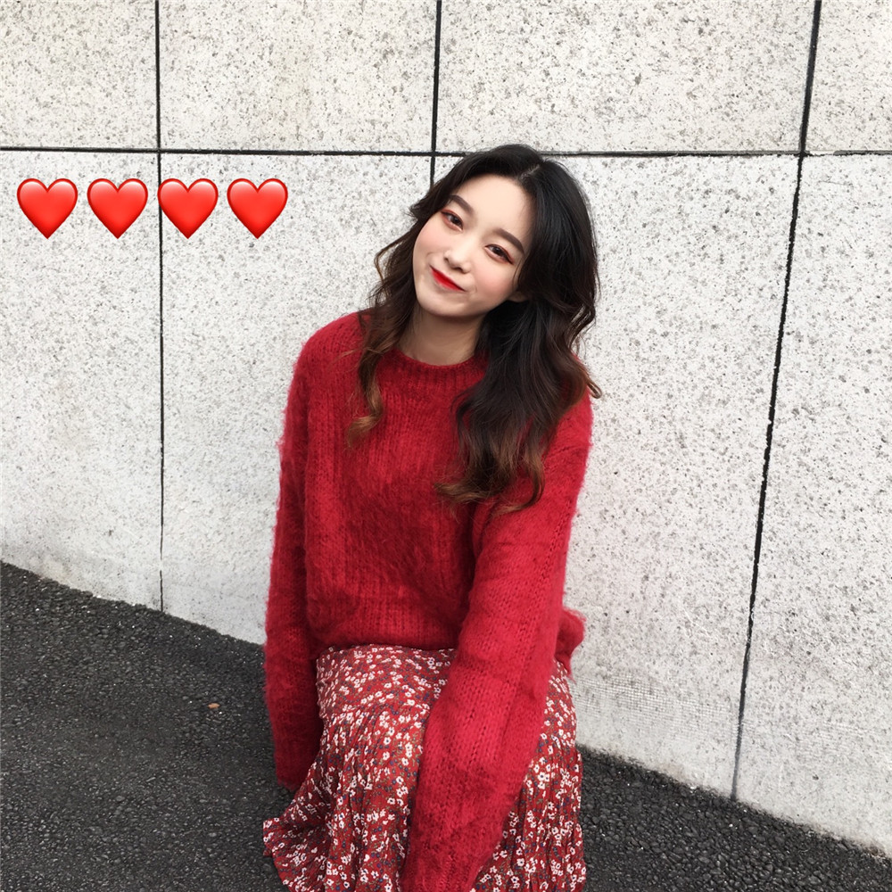 South Korea Christmas Red Mohair Brushed Sweater + V-neck Floral Dress