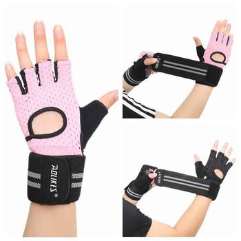 Kobiety mężczyźni rękawiczki do podnoszenia ciężarów siłownia pół palca sportowe rękawiczki do ćwiczeń antypoślizgowe rękawice treningowe do ćwiczeń tanie i dobre opinie CN (pochodzenie) Podnoszenie ciężarów rękawice fitness gloves