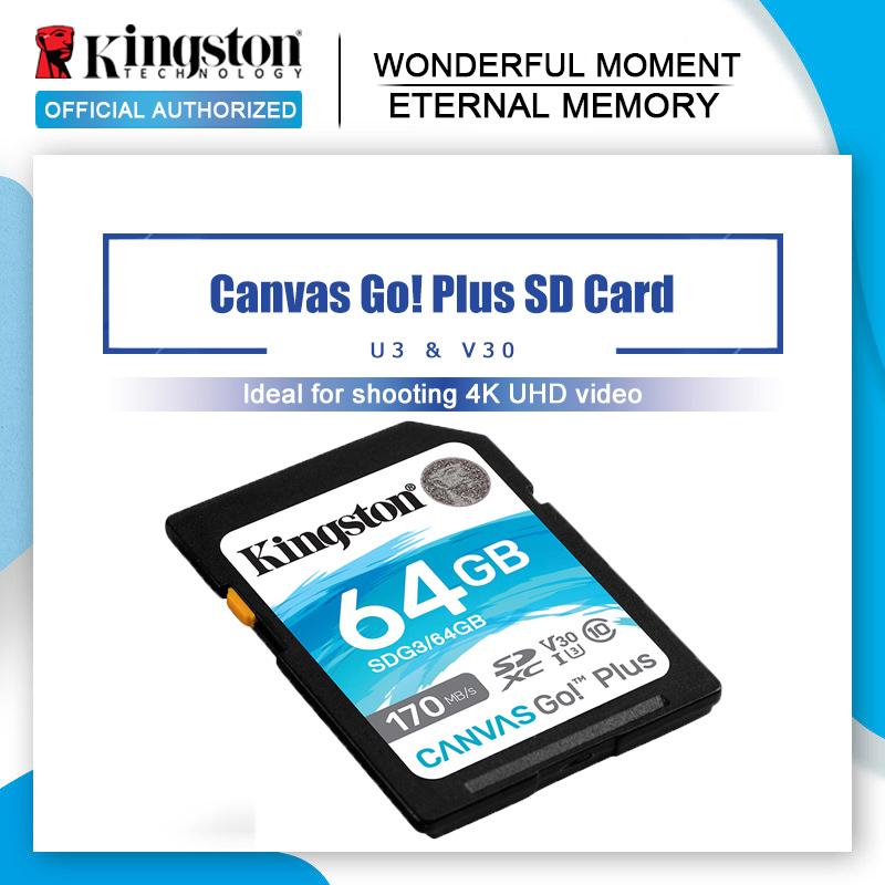 Kingston Canvas Go! Plus carte mémoire SD pour appareil photo, SDHC/SDXC, classe 10, 256/128/64 go, 4K