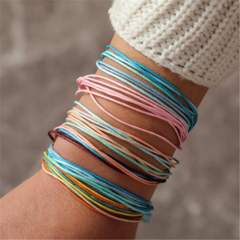 WKOUD Simple Color String Beach Woven Knot Bracelet Bracelet Set Bohemian Thread Bracelet Retro Boho 6PCS/Set