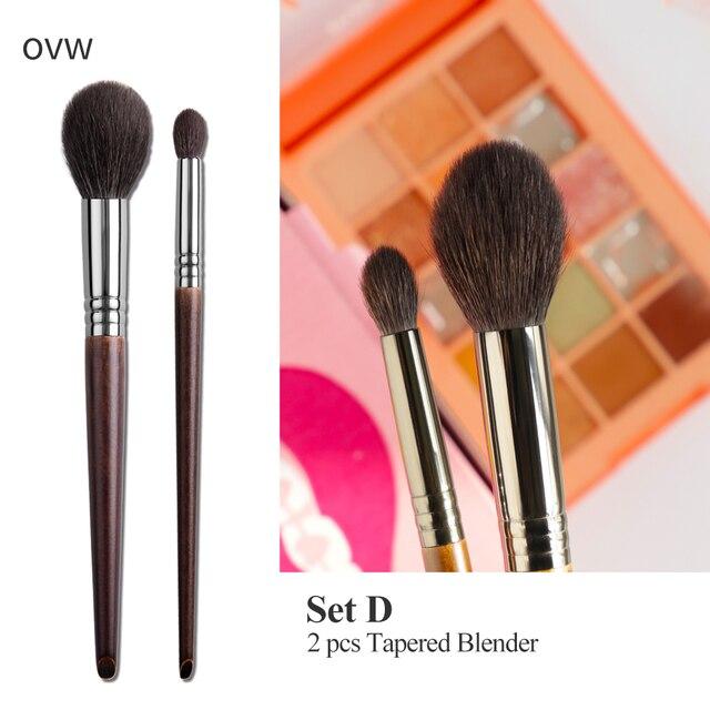 OVW Cosmetic 2/6 pcs Goat Hair Makeup Eye Shadow Brush Set Tool Ultra Soft Make Up Tapered Blender Diffuse Kit Cut Crease Brush 5