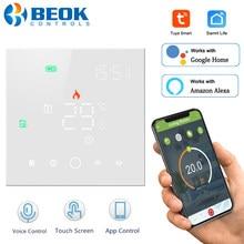 Beok wifi termostato para caldeira a gás tuya inteligente regulador de temperatura chão quente thermotato funciona com o google casa alexa tgw003