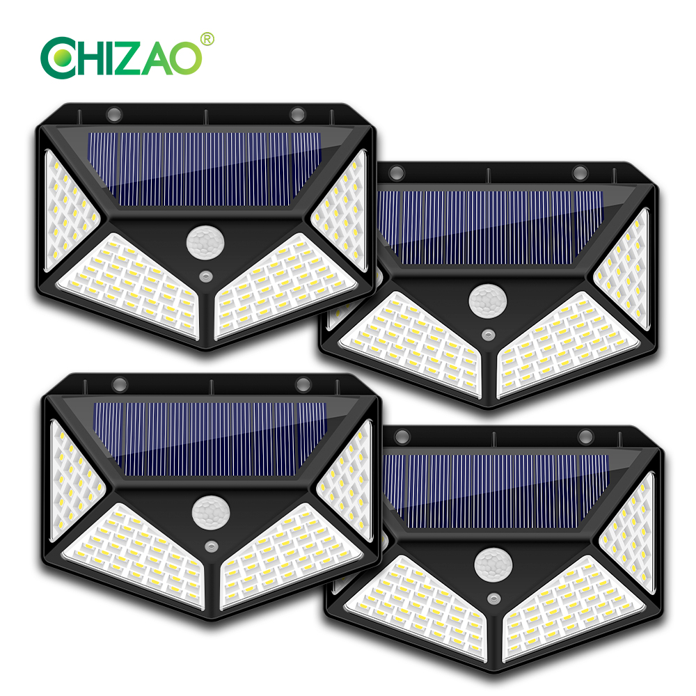 CHIZAO 100 LED Solar Panel Outdoor PIR Motion Sensor Wall Lamp For Garden Decoration