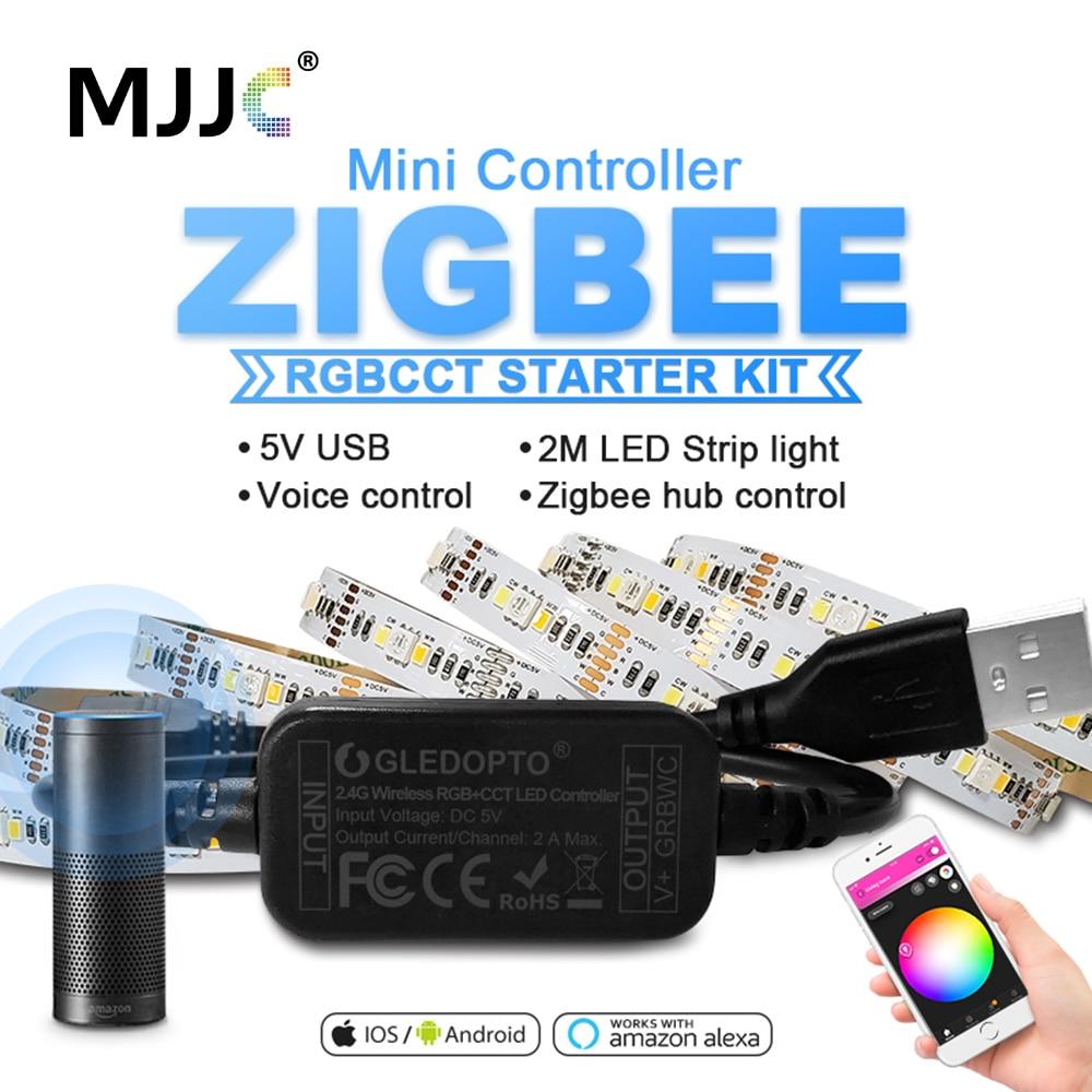 ZigBee LED RGBCCT Mini Controller Smart TV LED Strip Light 5V USB RGBWW Controller By Alexa Echo Plus Voice Control Zigbee Hub