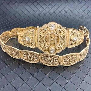 Image 4 - Marokański R marka metalowe pasy dla kobiet złoty biżuteria łańcuch talii pełny kryształ górski pasy ślubne słynny maroko biżuteria