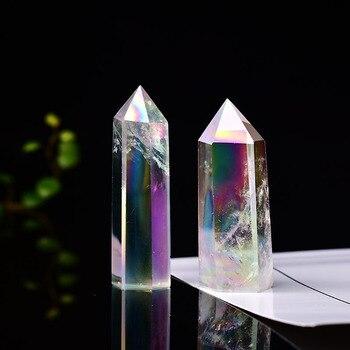 Натуральный белый кристалл колонка с гальваническим покрытием Цвет с украшением в виде кристаллов кварцевое украшение с шестигранной Колонка Офис для фэншуй Исцеление Рейки