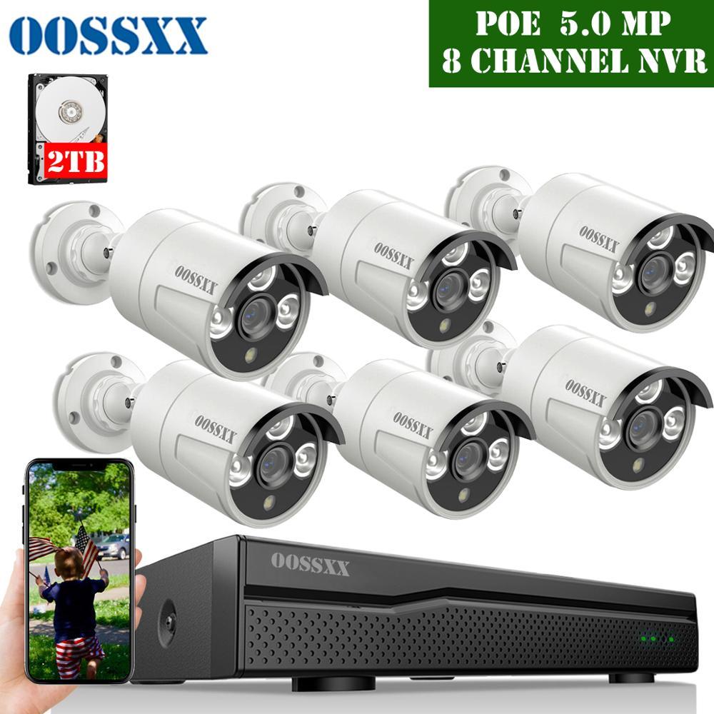 Sistema de cámaras de seguridad POE OOSSXX 5MP, 6 uds., cámara de Audio 5,0mp, IR Cut, para exteriores, IP67, impermeable, vídeo CCTV, vigilancia Micro cámara de vídeo CCTV inalámbrica para el hogar, Mini vigilancia de seguridad con Wifi, cámara IP, cámara para teléfono, cámara ipcámara con Sensor de movimiento Wai Fi