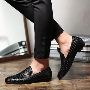 Image 3 - 2019 zapatos casuales de cuero trenzado de marca de lujo para hombre, zapatos Oxford de conducción, mocasines, zapatos italianos para hombres, C2 397