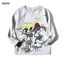 Promotion Kids T-shirts Print dinosaur pattern Long sleeves Children boys t-shirts clothing cotton 100% active random print stitching long sleeves t shirts