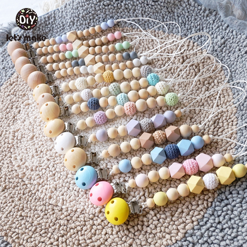 Let's Make 1pc Wooden Maple Beads Hexagon Crochet Beads Baby Teether Pacifier Clips Wood Crafts Toys Pacifier Holder Chain