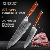XINZUO 2 PCS Kitchen Chef Knife Set Damascus Steel Chef Cutter Utility Knives Stainless Steel Kitchen Cutlery Rosewood Handle